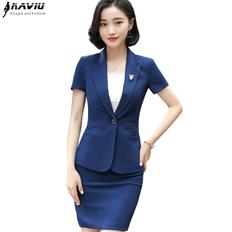 2018 New fashion Business skirt suit women summer formal blazer and skirt office ladies plus size uniforms
