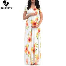 Chivry 2019 Summer Maternity Dress Women Fashion Floral Print Short Sleeve V-neck Pregnant Maxi Dress Pregnancy Dresses Vestidos women floral print bohemian maxi dress gypsy wrap maxi dress vintage puff sleeve blossom boho maxi dress spell dress