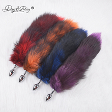 DAVYDAISY Soft Real Fox Fur Tail Metal Anal Plug Stainless Steel Butt Plug Erotic Women Adult Sex Accessories for Couples AC106