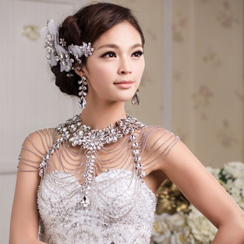 Long Crystal Necklace Chains Vintage Luxury Wedding Jewelry Bridal Shoulder Strap Jewellery Chain Accessories For Women