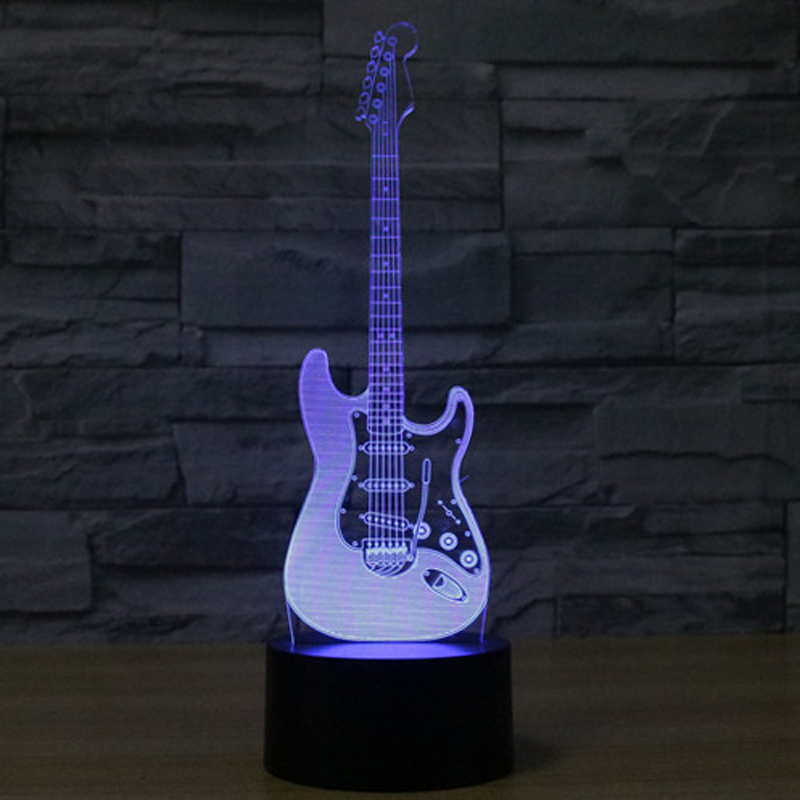 Creative 3D Night light guitar Shape Illusion 3D Lamp LED 7 Color changing USB touch sensor Table Lamps light Night Light 7 color touch lotus 3d colorful night light strange stereoscopic visual illusion lamp led lamp decor light as flower arrangement
