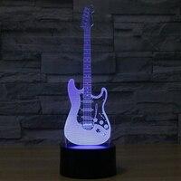 Creative 3D Night Light Guitar Shape Illusion 3D Lamp LED 7 Color Changing USB Touch Sensor