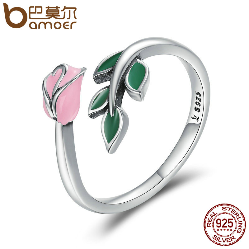 BAMOER Authentic 925 Sterling Silver Rose Flower Tree Leaves Enamel Female Finger font b Rings b