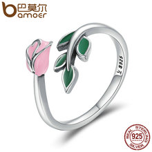 BAMOER Authentic 925 Sterling Silver Rose Flower Tree Leaves Enamel Female Finger Rings for Women Engagement Ring Jewelry SCR226