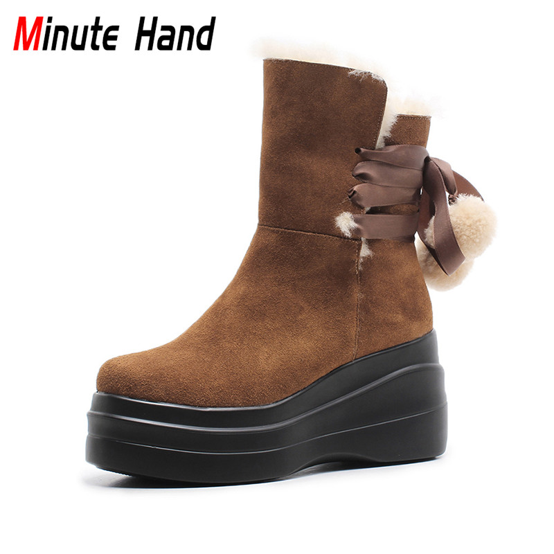 Minute Hand New Fashion Genuine Leather Woman Wool Fur Snow Boots Platform Wedge Ankle Boots Round Toe Lace Up Winter Warm Shoes nayiduyun women genuine leather wedge high heel pumps platform creepers round toe slip on casual shoes boots wedge sneakers