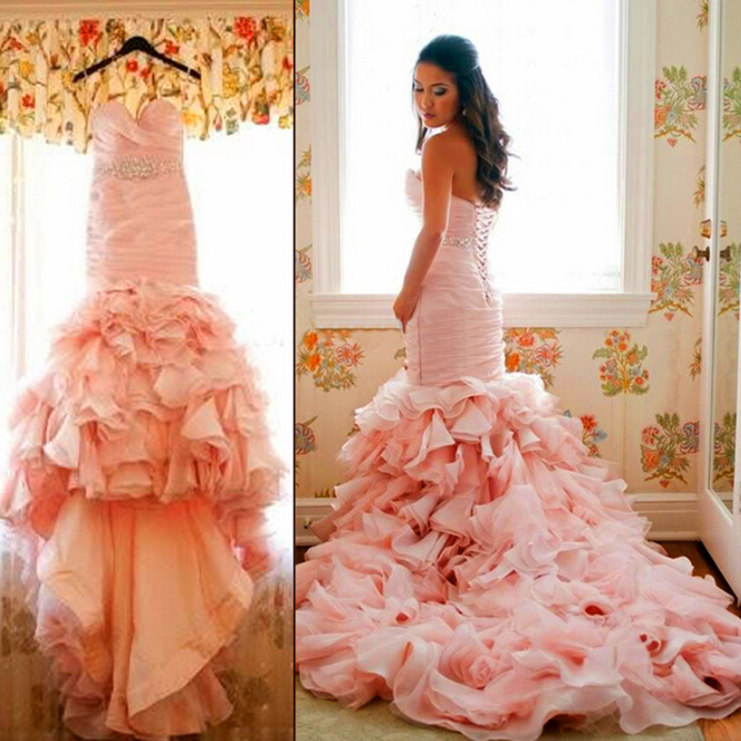 Pink Wedding Gown Designers: 2016 Famous Design Mermaid Pink Wedding Dresses Corset