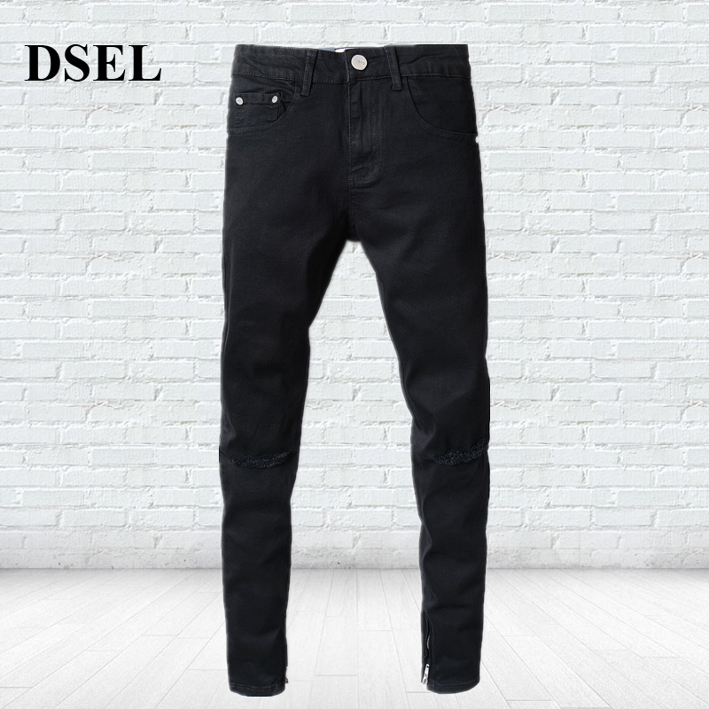 Casual Strong Stretch Leg Length Ripped Knee Holes Jeans Men Brand Clothing Men`s Selvedge Zipper Black Jeans Skinny A2001