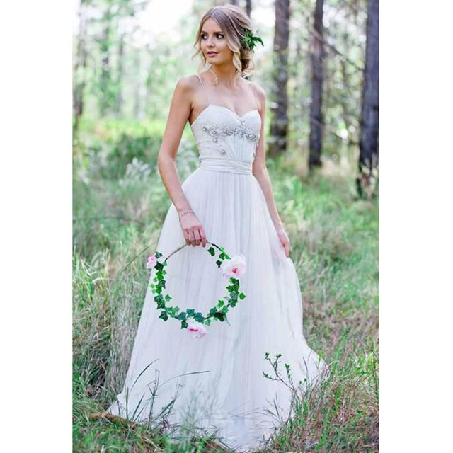 Beach Wedding Dresses Spaghetti Straps Pure White Ruched Tulle 2017 Beaded Crystal Dress Simple Style