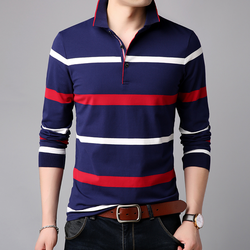 2019 New Fashions Brands   Polo   Shirt Men Mandarin Collar Cotto Long Sleeve Slim Fit Striped   Polos   Casual Mens Clothing