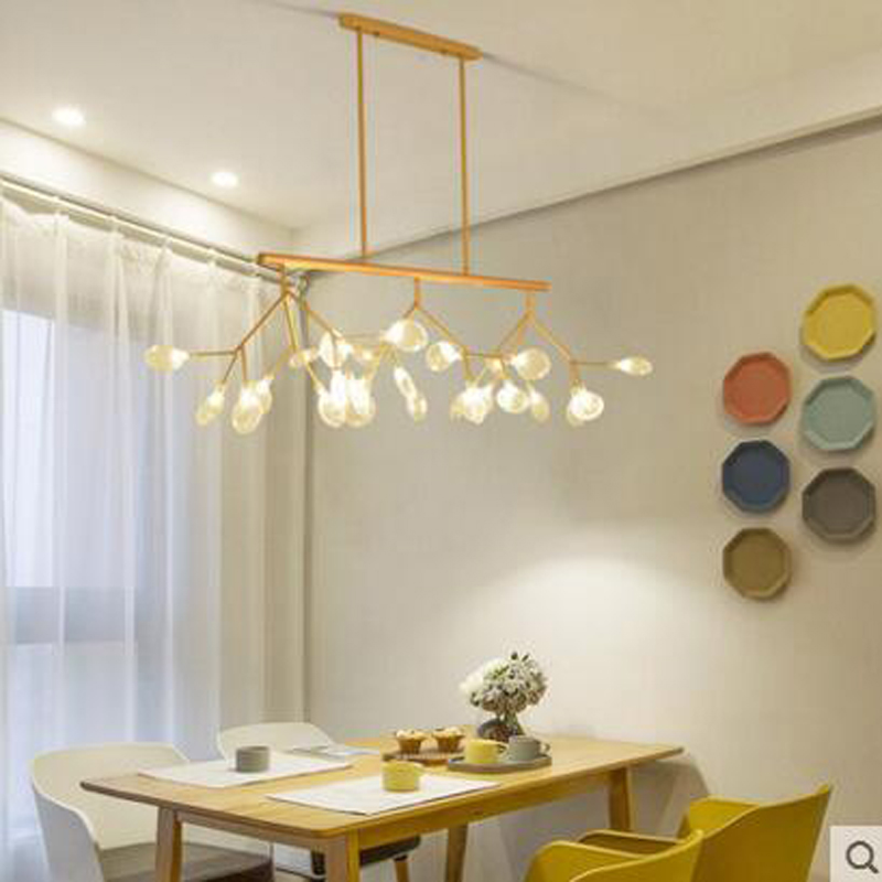 Postmodern Creative Restaurant Chandelier Rectangular led Firefly Chandelier Nordic Art Personality Villa Living Room Light led modern circle tree branch led pendant light creative personality firefly dia 210cm nordic living room restaurant hall lobby lamp