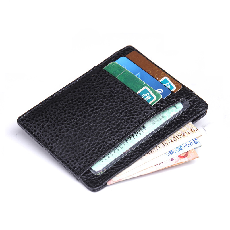 6 card holder genuine leather wallet for credit cards business card id holders porte carte pass. Black Bedroom Furniture Sets. Home Design Ideas