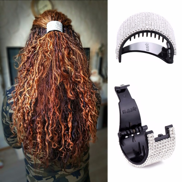 Hair Accessories for Women Round Hair Buckle Crystals Jaw Clips Girls Ponytail Barrette Long Thick Hair Clip Claw Headwear HC322