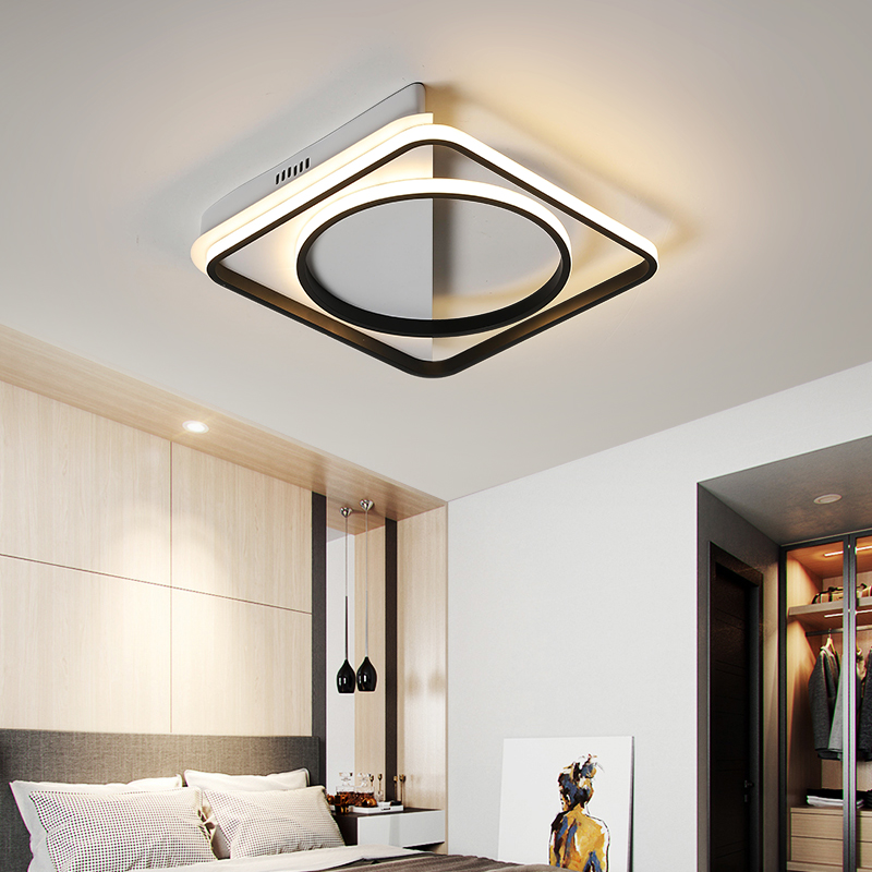 Lican Modern Led Ceiling Lights For Bedroom Living Room Hallway Surface Mounted Black White