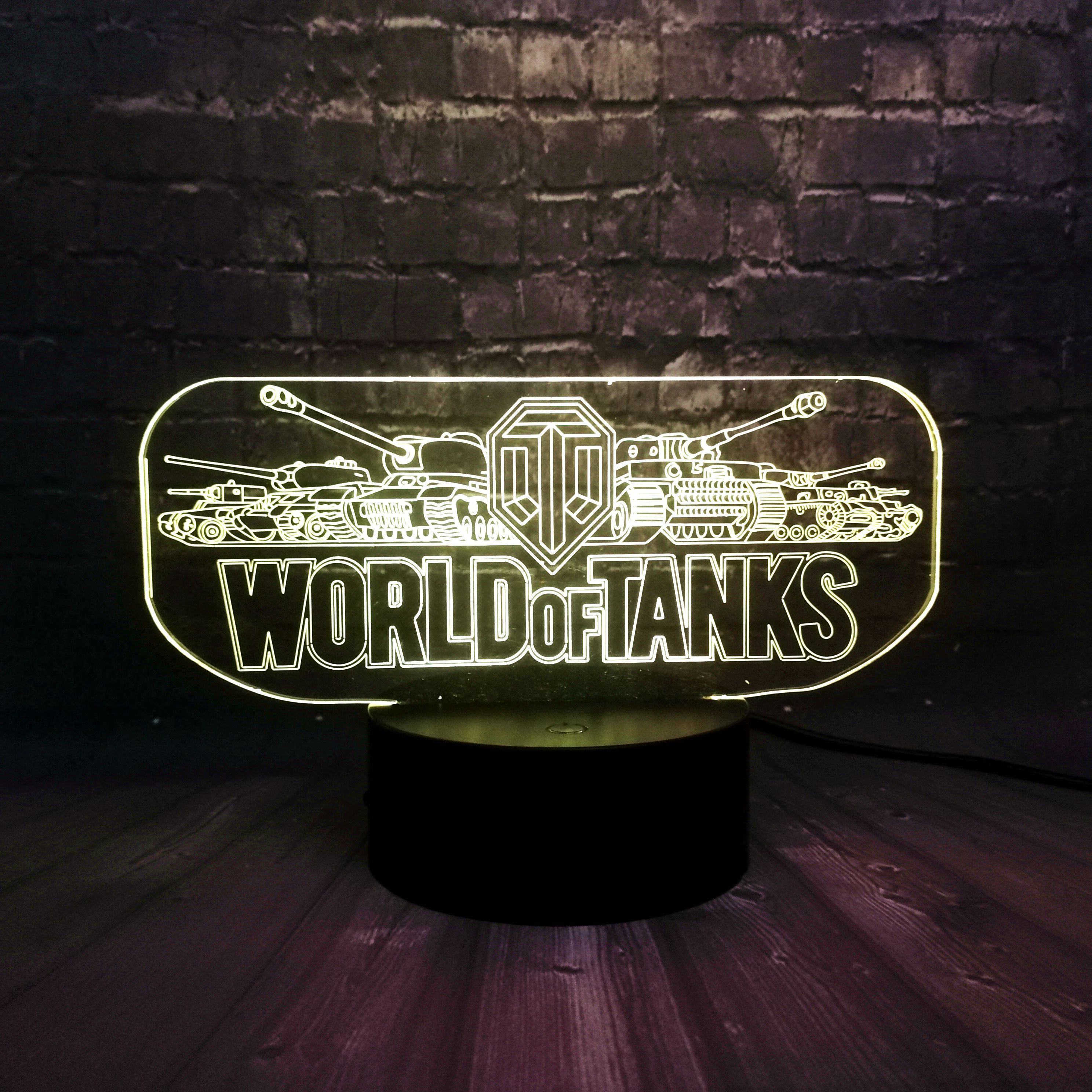 Hot Game Prop World Tank Car Creative LED Bedroom Decor 7 Color Change Luster Mood Night Light Holiday Boyfriends Fun Gift
