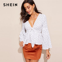 fdc2f698f4 SHEIN Sexy White Plunging Neck Knot Front Bell Sleeve Slim Fit Top Blouse  Women Spring Deep V Neck Flounce Sleeve Top Blouses