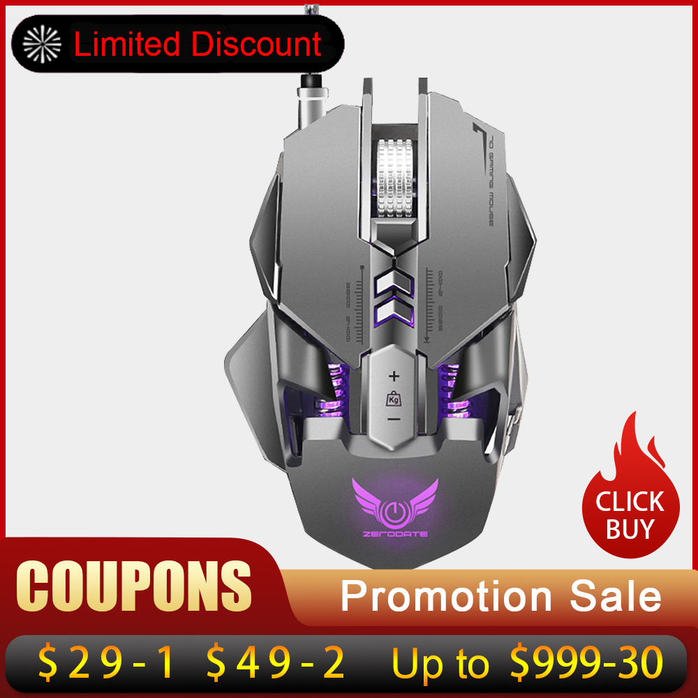 ZERODATE X300GY USB Wired Gaming Mouse Mechanical Computer PC Mouse Mice 3200DPI 7 Buttons LED Backlight for LOL DOTA2 Computer рюкзак national geographic ng w5070