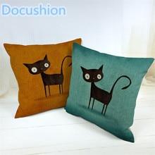 2015 Fashion Decorative Cushions New Arrival Cartoon Cat Style Cotton LinenThrow Pillows Car Home Decor Cushion