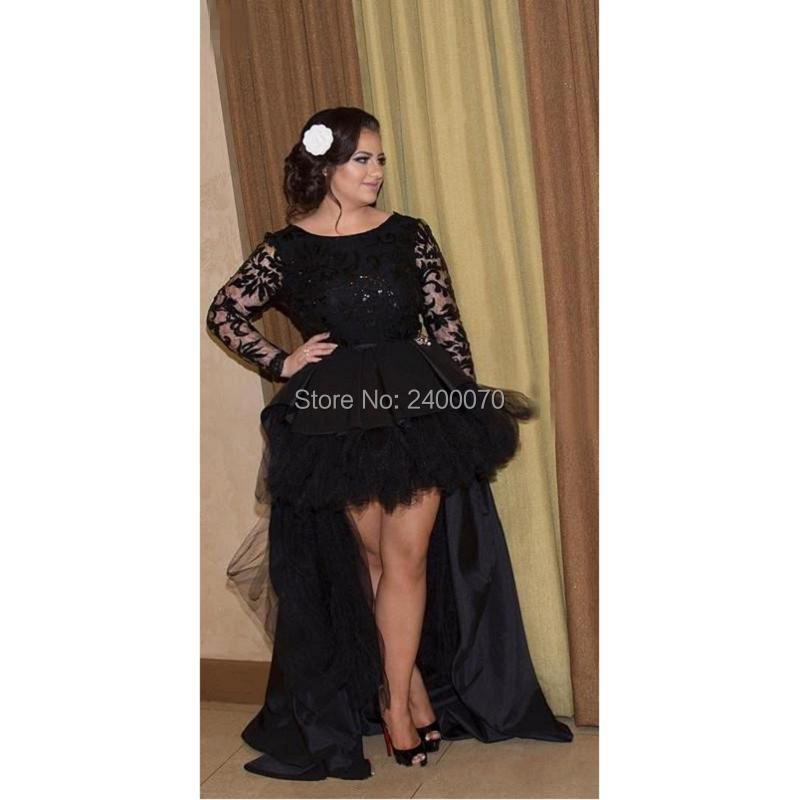 Elegant Black Prom Dresses 2017 High Low Plus Size Lace ...
