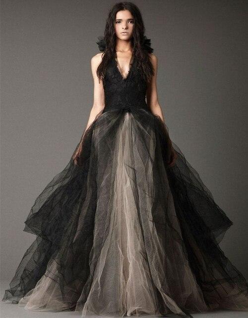 Elegantes Tulle Schwarze Gothic Brautkleider Lace A linie Braut ...
