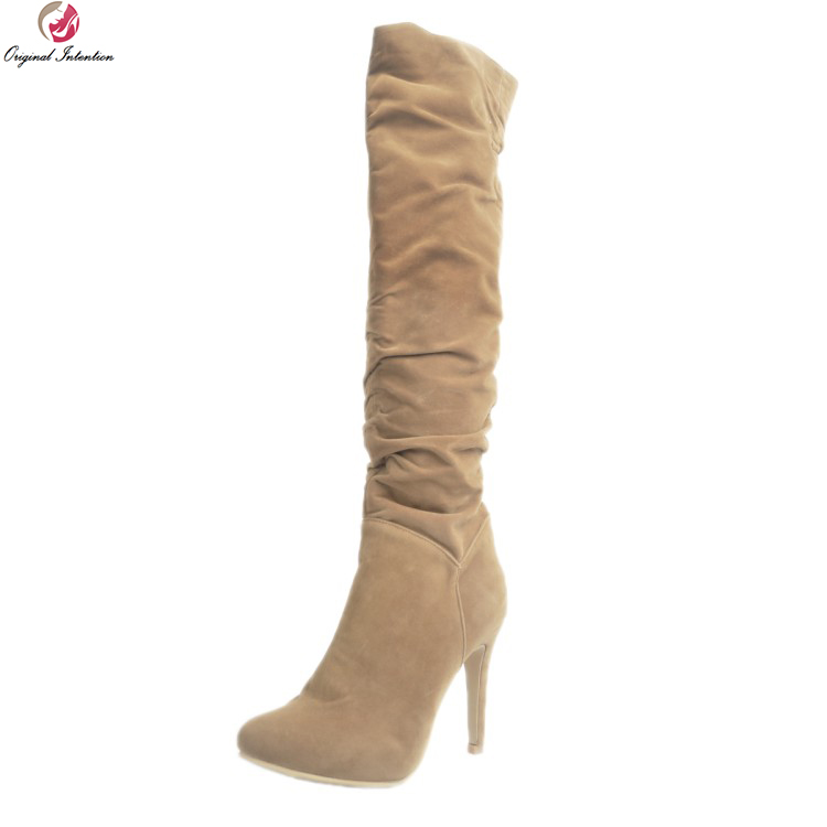 Original Intention Stylish Women Knee High Boots Fashion Pointed Toe Thin Heel Boots Elegant Camel Shoes Woman Plus US Size 4-15 camel camel boots cowhide thick heel rivet velvet fashion pointed toe boots vintage casual thermal boots