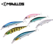 Mavllos Shallow Floating Minnow Bait Lure 13.5cm 17g 3D Lifelike Eyes 3pcs Treble Hooks Saltwater Artificial Bait Fishing Lure lifelike fish style fishing bait w treble hooks green golden