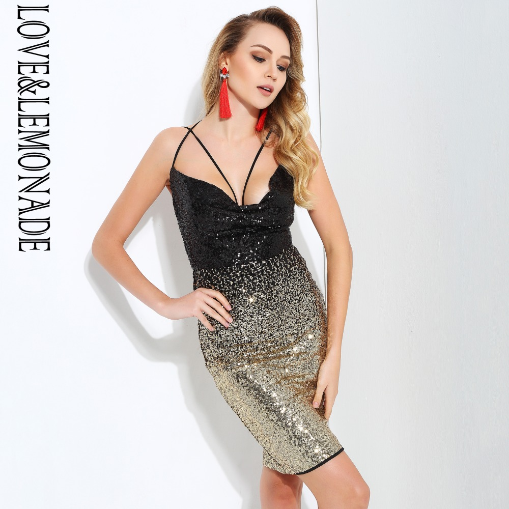 Love Lemonade Gradient sequins V Neck Open Back Slim Party Dress LM1501-in  Dresses from Women s Clothing on Aliexpress.com  90e689bb226a