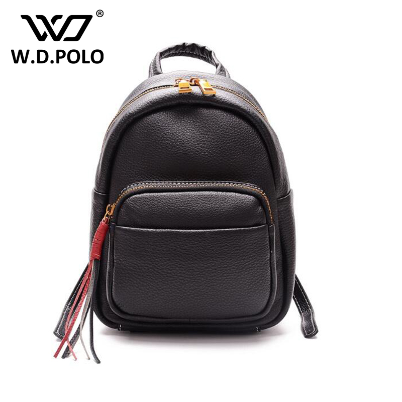 WDPOLO Women Soft Genuine Leather Backpack chic shoulder bags backpacks for teenage girls Preppy Style Travel School bag C153 swdvogan new travel backpack korean women rucksack pocket genuine leather men shoulder bags student school bag soft backpacks