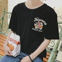 9236 P лето новый прилив хан издание круглый воротник футболка с короткими рукавами, с принтом характер