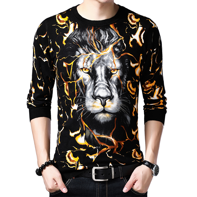Creative Crack Print 3D Lion Head Pattern Pullover Knitted Sweater Autumn 2019 Quality Cotton Soft Comfortable Sweater Men M-3XL
