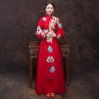 Red Chinese Phoenix Embroidery Marriage Cheongsam Floral Elegant Asian Bridal Wedding Dress Suit Lace Sexy Qipao Evening Gowns