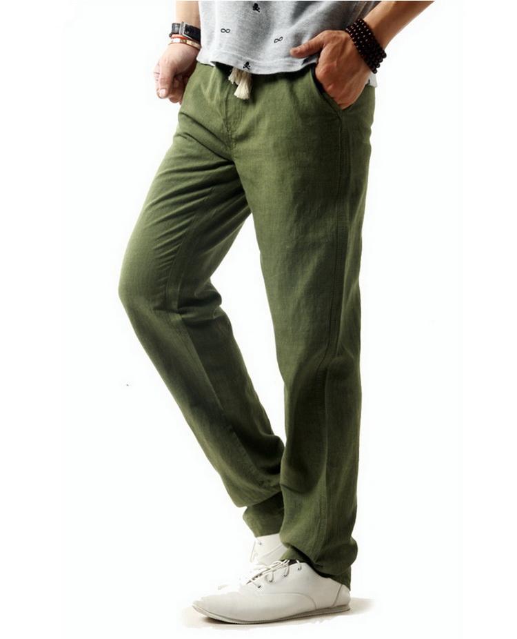 Pantalon hommes en lin et coton vert kaki
