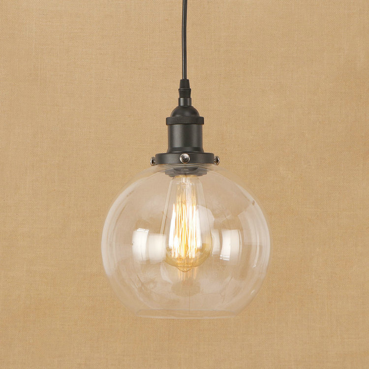 IWHD Glass Ball Loft Industrial Hanging Lamp Iron LED Pendant Light Fixtures Bedroom Kitchen Retro Lights Hanglamp Lighting new loft vintage iron pendant light industrial lighting glass guard design bar cafe restaurant cage pendant lamp hanging lights