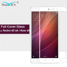 hot deal buy weeyrn 9h 2.5d full protective glass for xiaomi redmi 4x 4a tempered glass screen protector for xiaomi redmi note 4x (3gb+32gb)