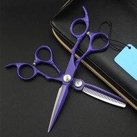 Upscale japan 440c 6 inch purple retro hair scissors cutting barber makas makeup haircut thinning shears hairdressing scissors