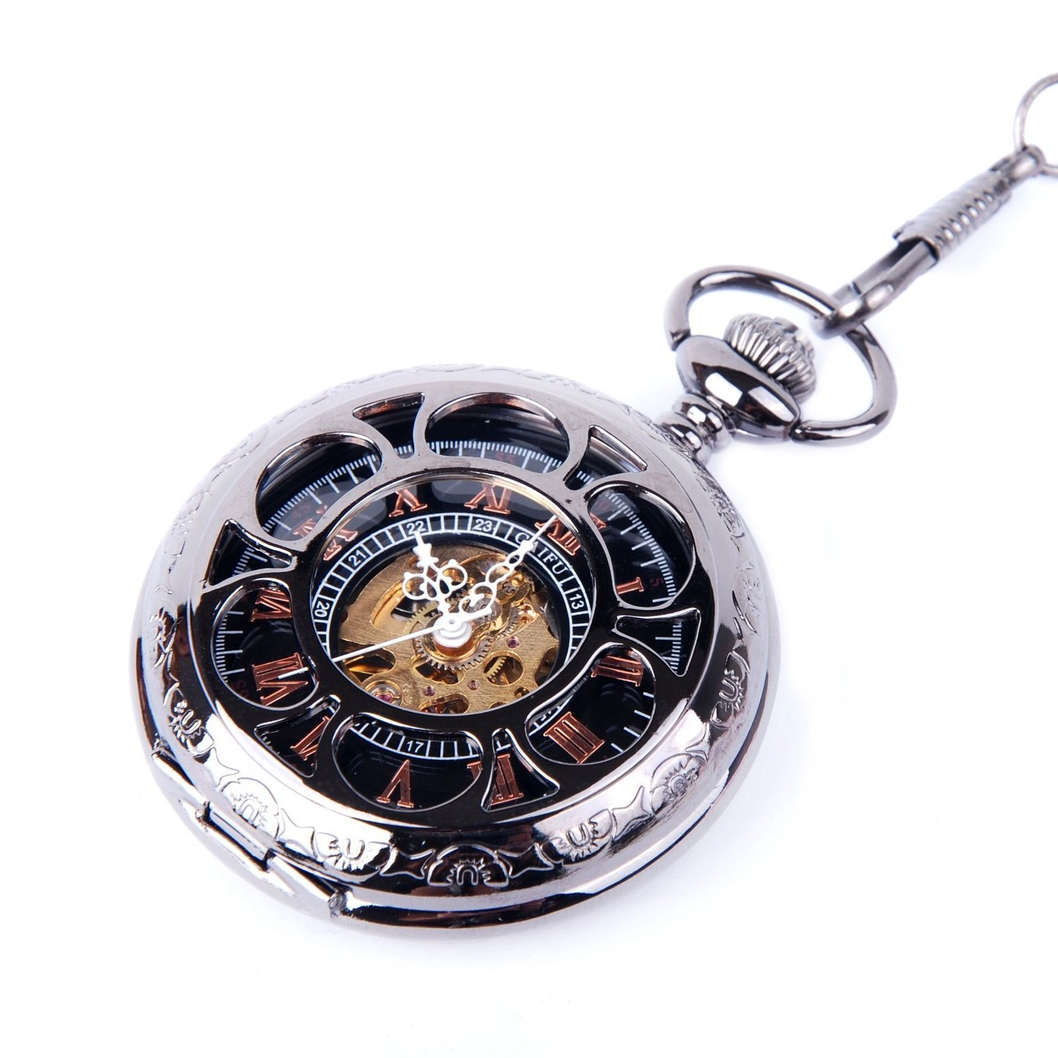 afa3f53ee Pocket Watch with Chain Black Dial Steampunk Skeleton Mechanical Hand Wind  Up Movement Cosplay Half Hunter Watch-in Pocket & Fob Watches from Watches  on ...