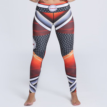 JIGERJOGER 2017 Winter new Warrior red brown grey color block stripes digital color printing beach leggings swimming tight pants