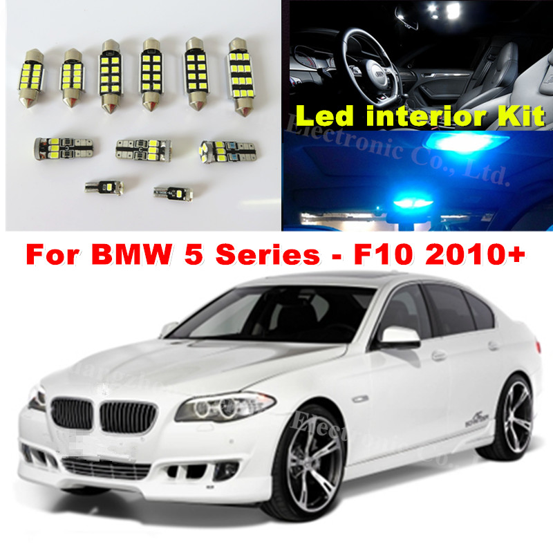 WLJH 19x Blanc Canbus Dôme Footwell Tronc Éclairage Ampoule LED De Voiture intérieur Lumière Kit pour BMW F10 5 Série 2010 + 550i 535i 528i M5