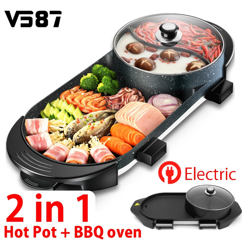 2 In 1 220v Electric Hotpot Barbecue Pan Griddle Oven