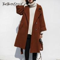 TWOTWINSTYLE Long Woolen Trench Cotas Women Winter Big Size Thick Warm Overs Coats Femela Lace Up Tunic Women's Windbreaker Tide