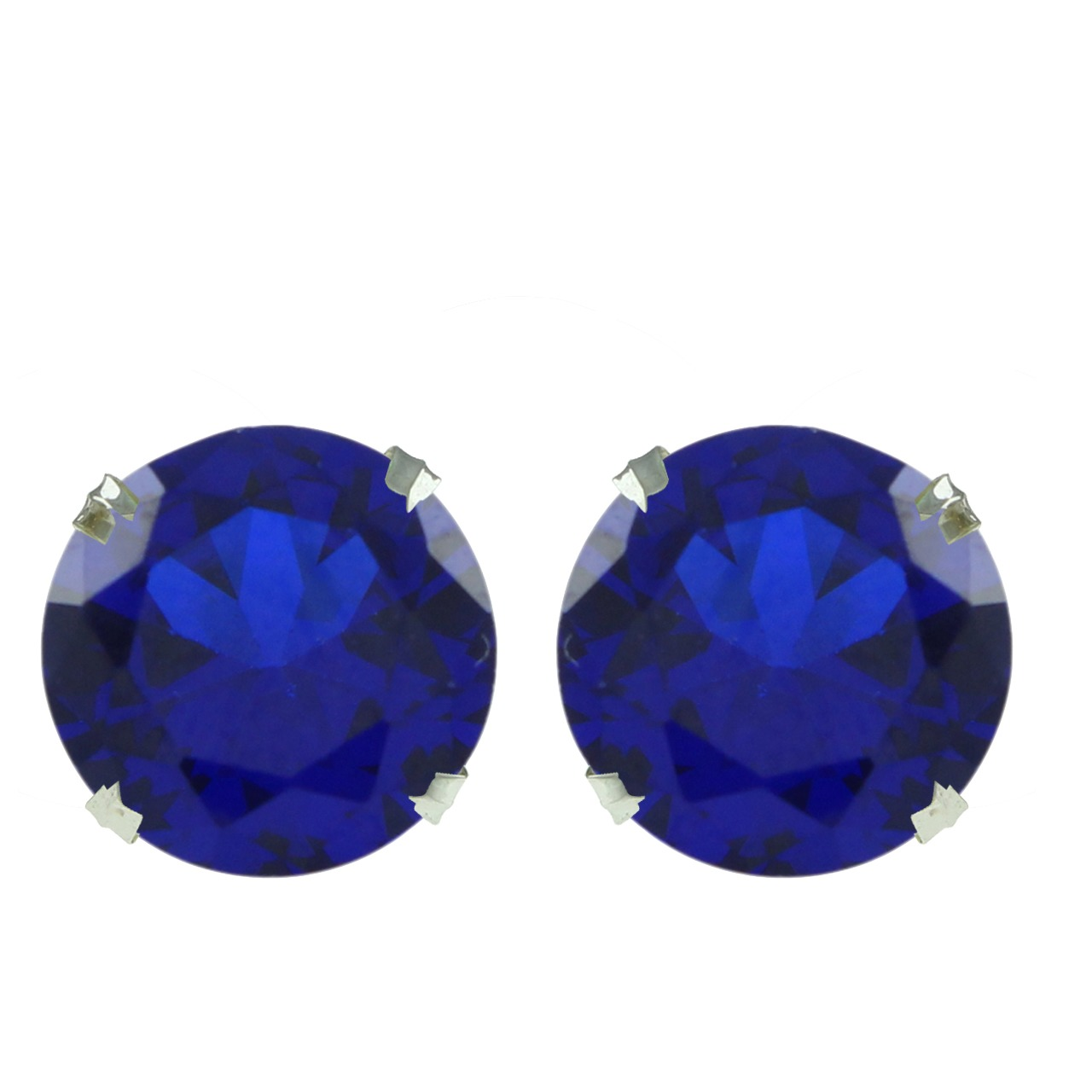 8mm Round Cut Blue Sapphire 10k White Gold Solitaire Stud Earrings nanibon кардиган