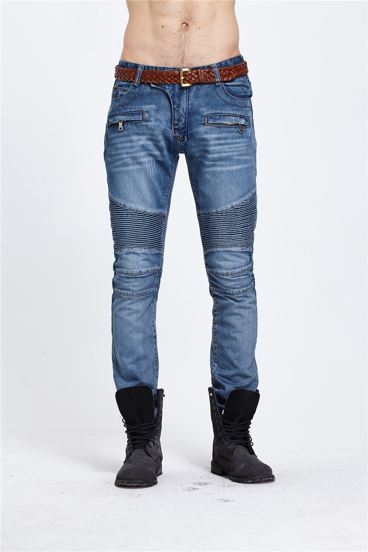 ФОТО Men's Fashionable Brand Designer Causal Slim Fit Tight Bootcut Ripped Biker Jeans Zipper Cool Gents Distressed Moto Denim Jogger