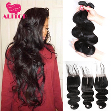 ALITOP Hair Brazilian Hair Weave 3 Bundles With Closure Body Wave 100% Human Hair Bundles With Closure Remy Lace Front Closures