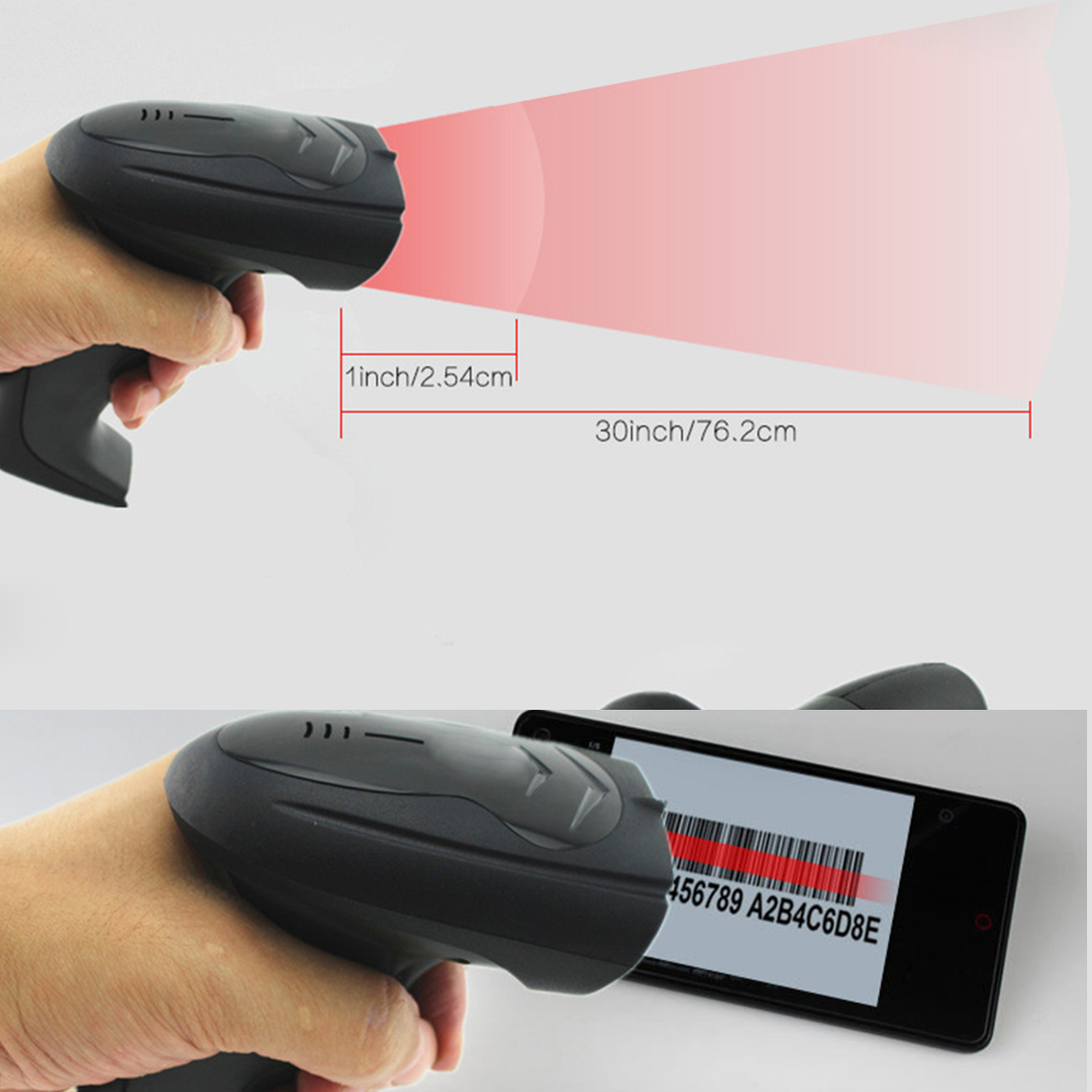 ФОТО New Wireless CCD Barcode Scanner Red Light Label Reader Handheld Barcode Scanning Gun for Supermarket Shop