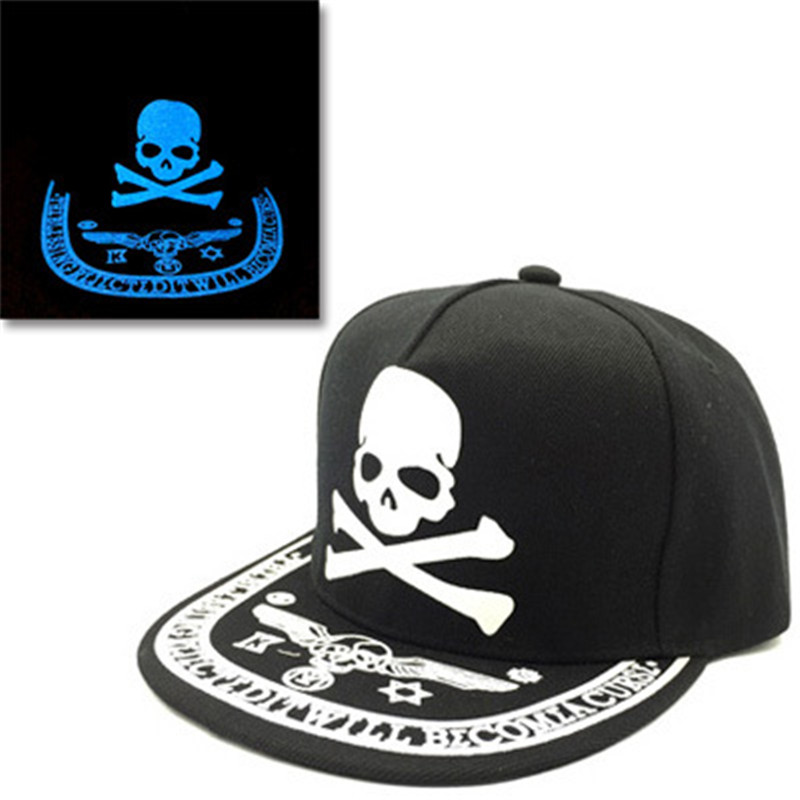 blue Graffiti Fluorescent   Baseball     Caps   Hip Hop   Cap   For Women Men Casual girls Snapback   Caps   boy Skeleton Hats Glow In The Dark