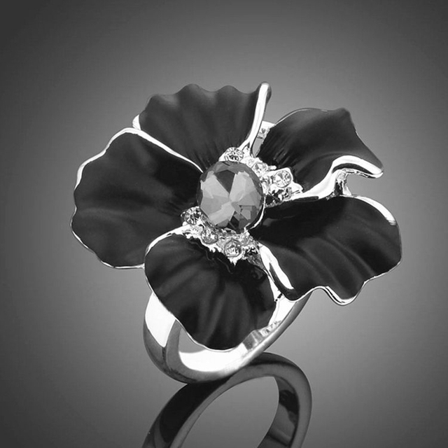 Mystic Floral Flower Rings Vintage Silver Black Floral Rhinestone