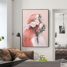 Dreamy Girl Heart Figure Canvas Painting Decorates Picture Light Luxury Abstract Porch Mural Nordic Bedroom Hangs Decor