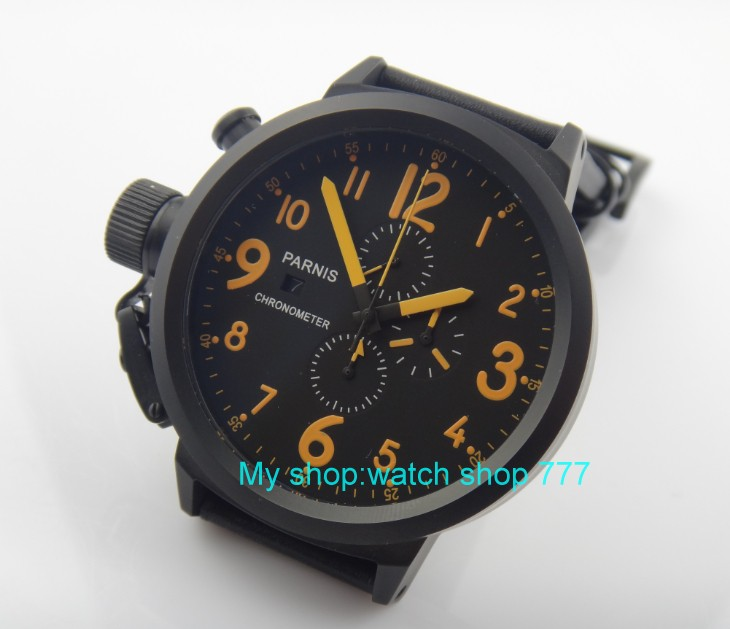 50mm PARNIS black dial Japanese quartz movement Chronograph multifunction men's watch Auto Date Quartz watches PVD SY13A недорого