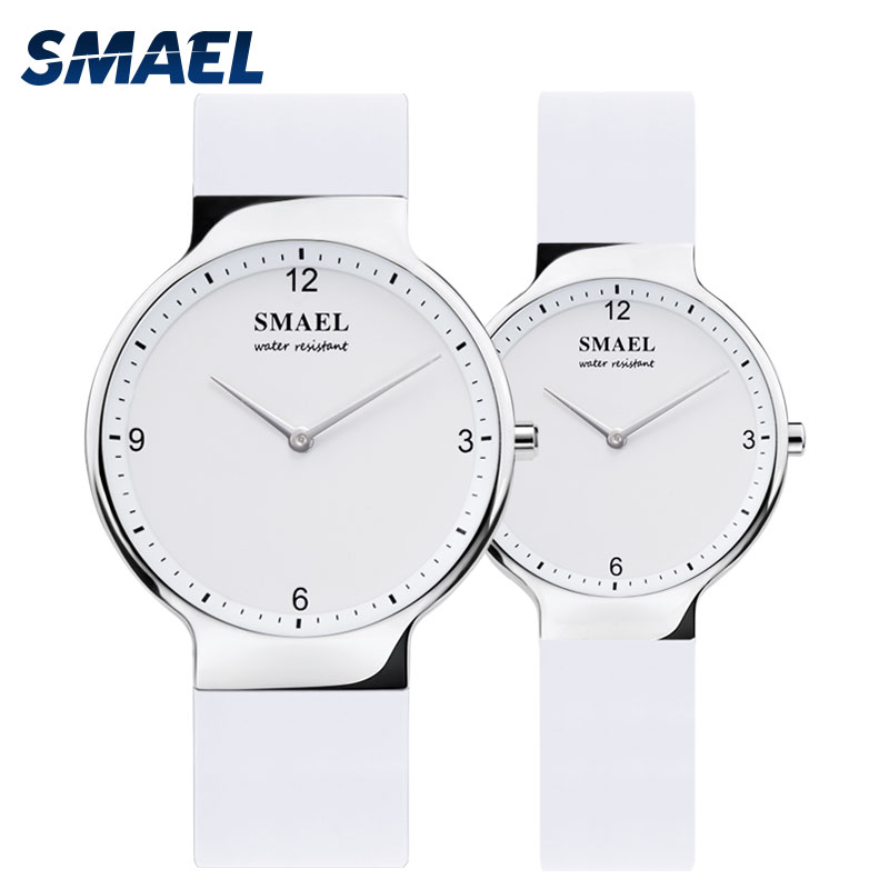 SMAEL Casual Quartz WATCH Set 1835 Simple Couple Flexible Waterproof Wristwatches Lovers Set Silver Relógio De Casal Top Gift