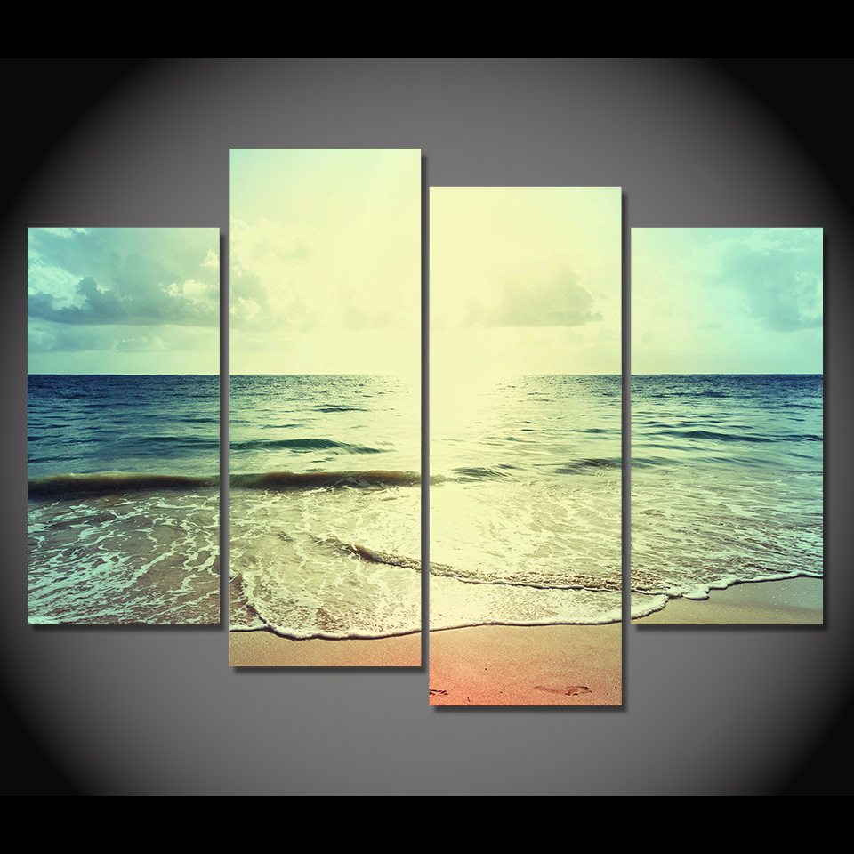 4 Piece Canvas Art Canvas Painting Beach Shore Water HD Printed ...