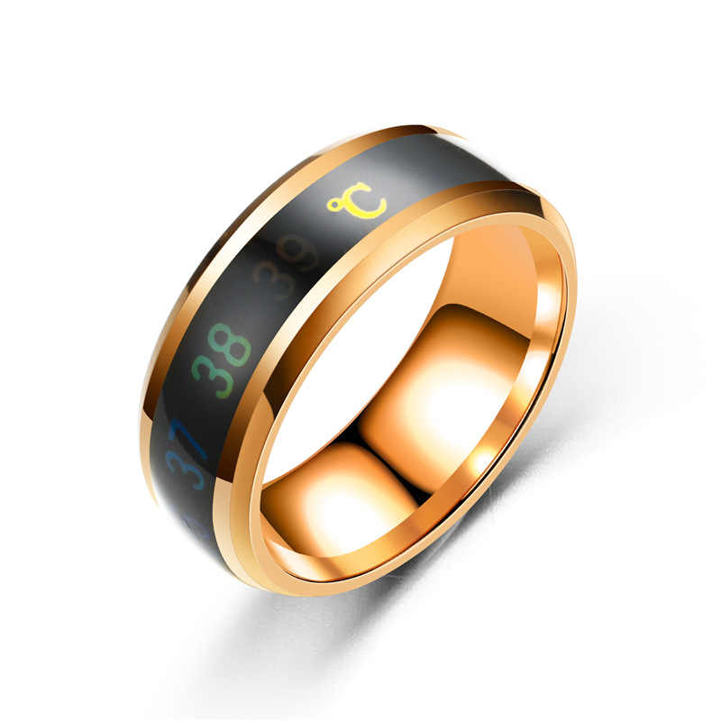 fashion Temperature measuring intelligent rings Stainless Steel love ring for men women wedding mood rings jewelry wholesale